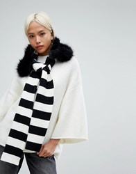 Urbancode Stripe Knitted Scarf With Detachable Faux Fur Collar Black White