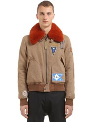 Yves Salomon Wool Blend Bomber Jacket W Fur Collar