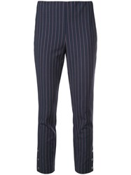 Rag And Bone Pinstripe Cropped Trousers Blue