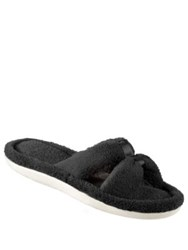 Isotoner Microterry Satin Xslide Slippers Taupe