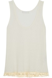 Kain Label Dolly Fringed Slub Silk And Linen Blend Jersey Tank White