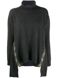 Etro Embroidered Trim Poncho Grey