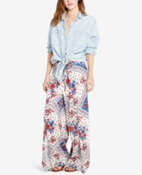 Denim And Supply Ralph Lauren Floral Print Smocked Pants White