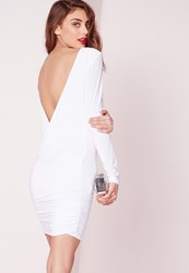 Missguided Slinky Drape Back Ruched Bodycon Dress White White