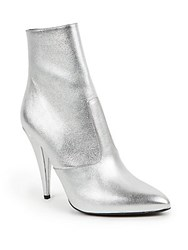 Saint Laurent Metallic Leather Point Toe Booties Silver
