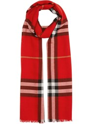 Burberry Lightweight Check Wool And Silk Scarf Red