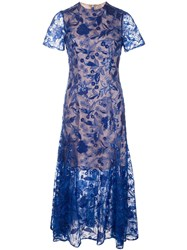 Costarellos Sequin Embroidered Lace Dress Blue