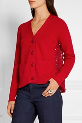 Sacai Lace Paneled Wool Cardigan Red