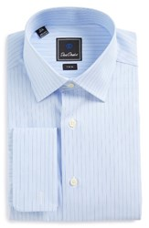 David Donahue Men's Big And Tall Trim Fit Stripe Dress Shirt Sky