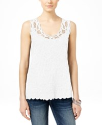 Inc International Concepts Embroidered Lace Shell Only At Macy's Bright White