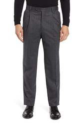Berle Pleated Stretch Houndstooth Wool Trousers Grey