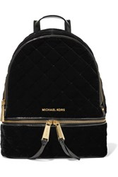 Michael Michael Kors Rhea Patent Leather Trimmed Quilted Velvet Backpack Black
