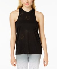 Material Girl Active Juniors' Burnout Tank Top Black
