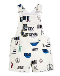Kenzo Mixed Print Stretch Denim Overalls White
