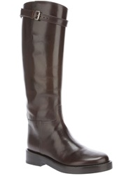 Ann Demeulemeester Mid Calf Riding Boots Brown