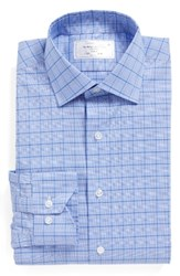 Lorenzo Uomo Men's Big And Tall Trim Fit Plaid Dress Shirt Blue