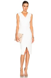 Victoria Beckham Deep V Fitted Dress In White