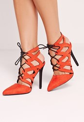 Missguided Cross Strap Lace Up Court Shoes Red Red