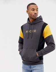 Nicce London Hoodie In Grey With Contrast Panels