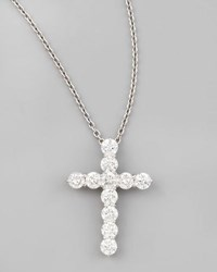 Roberto Coin 16 White Gold Med Diamond Cross Pendant Necklace