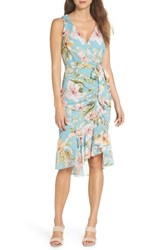 Eliza J Floral Print Faux Wrap Midi Dress Mint