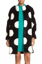 Kate Spade Women's New York Polka Dot Faux Fur Coat