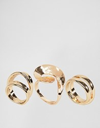 Asos Pack Of 3 Abstract Swirl Rings Gold