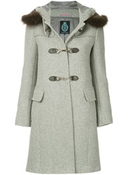 Guild Prime Fur Collar Double Breasted Coat Grey
