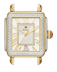 Michele Deco Madison Two Tone Watch Head With Diamonds Silver