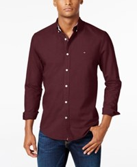 Tommy Hilfiger New England Solid Long Sleeve Custom Fit Oxford Shirt Harvard Red