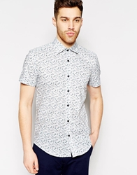 Antony Morato Short Sleeve Shirt With Floral Print In Slim Fit Lightblue7023
