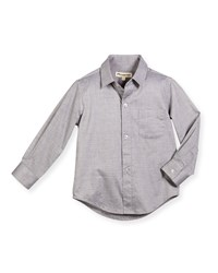 Appaman Long Sleeve Cotton Pin Dot Shirt Gray