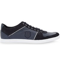 The Kooples Leather And Suede Lace Up Trainers Nav01