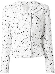 Giambattista Valli Zipped Tweed Jacket White