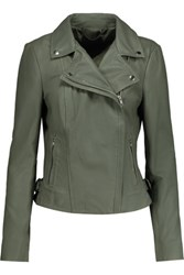 Muubaa Rosario Biker Leather Jacket Gray Green