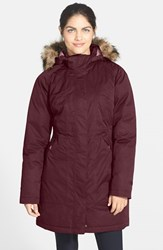 The North Face Women's 'Arctic' Down Parka With Removable Faux Fur Trim Hood Deep Garnet Red Heather