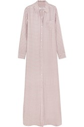 Equipment Brett Gingham Washed Silk Maxi Dress Antique Rose
