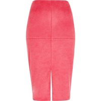 River Island Womens Bright Pink Faux Suede Pencil Skirt