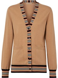 Burberry Icon Stripe Detail Merino Wool Cardigan Neutrals
