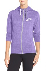 Women's Nike 'Gym Vintage' Zip Front Hoodie Washed Purple Sail