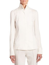 Akris Punto Poplin Blouse With Pleat Details Cream