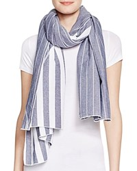 Donni Charm Diagonal Denim Striped Scarf Blue Mini Stripe Denim Stripe