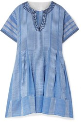 Lemlem Zinab Pleated Metallic Striped Cotton Blend Voile Mini Dress Light Blue