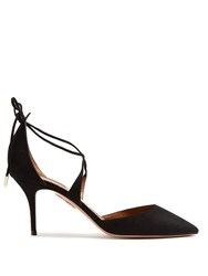 Aquazzura Matilde Crossover Tie Suede Pumps Black