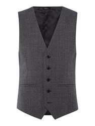 Kenneth Cole Men's Parsons Slim Fit Textured Waistcoat Charcoal