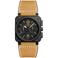Bell And Ross Br0394 Heri Ce Men's Leather Strap Watch Tan Black