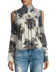 Free People Floral Knit Shirt Ivory