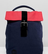 Mi Pac Mini Fold Top Backpack In Navy And Pink Colourblock Navy And Pink