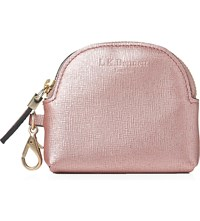 Lk Bennett Raven Metallic Leather Coin Purse Pin Metallic Pink