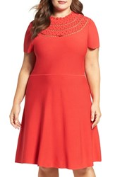 Eliza J Plus Size Women's Eyelet Detail Scallop Neck Fit And Flare Dress